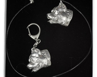 NEW, Pit Bull, dog keyring and necklace in casket, ELEGANCE set, limited edition, ArtDog . Dog keyring for dog lovers