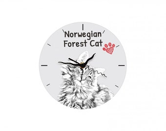 Norwegian Forest cat, Free standing MDF floor clock with an image of a cat.