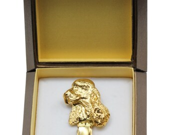 NEW, English Cocker Spaniel, millesimal fineness 999, dog clipring, in casket, dog show ring clip/number holder, limited edition, ArtDog