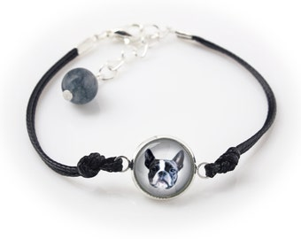 Boston Terrier. Bracelet for people who love dogs. Photojewelry. Handmade.