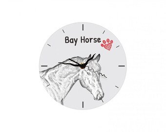 Bay, Free standing MDF floor clock with an image of a horse.