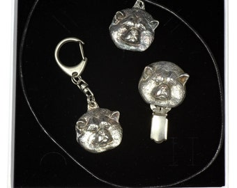 NEW, Akita Inu, dog keyring, necklace and clipring in casket, ELEGANCE set, limited edition, ArtDog . Dog keyring for dog lovers