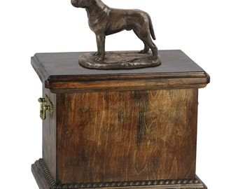 Urn for dog's ashes with a Bullmastiff statue, ART-DOG Cremation box, Custom urn.
