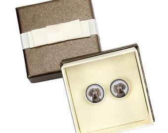 Weimaraner. Cufflinks with box for dog lovers. Photo jewellery. Men's jewellery. Handmade