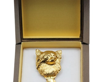 NEW, Chihuahua, millesimal fineness 999, dog clipring, in casket, dog show ring clip/number holder, limited edition, ArtDog