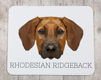 A computer mouse pad with a Rhodesian Ridgeback dog. A new collection with the geometric dog