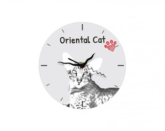 Oriental cat, Free standing MDF floor clock with an image of a cat.