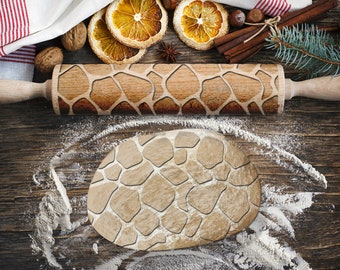 Engraved rolling pin. Original shape. STONES pattern. Laser Engraved for cookies. Decorating roller