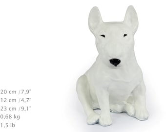 Bull Terrier, color, dog sitting statue, limited edition, ArtDog