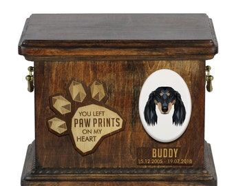 Urn for dog ashes with ceramic plate and sentence - Geometric Dachshund wirehaired, ART-DOG. Cremation box, Custom urn.