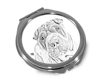 Shar Pei - Pocket mirror with the image of a dog.