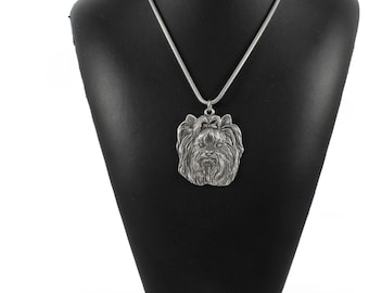 NEW, Yorkshire Terrier, Yorkie, dog necklace, silver cord 925, limited edition, ArtDog