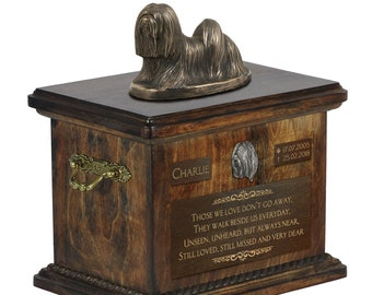 Lhasa Apso - Exclusive Urn for dog ashes with a statue, relief and inscription. ART-DOG. Cremation box, Custom urn.