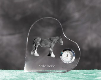 Shire horse- crystal clock in the shape of a heart with the image of a pure-bred horse.