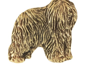 Polish Lowland Sheepdog (dark), millesimal fineness 999, dog pin, limited edition, ArtDog