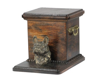 Urn for dog's ashes with a standing statue -French Bulldog, ART-DOG Cremation box, Custom urn.