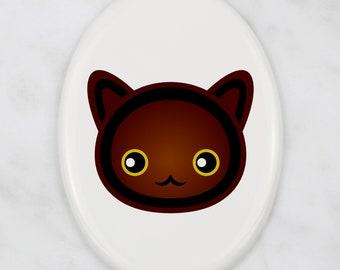 A ceramic tombstone plaque with a Havana Brown cat. Art-Dog cute cat