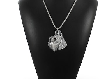 NEW, Schnauzer (with parting), dog necklace, silver cord 925, limited edition, ArtDog