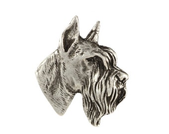 Schnauzer cropped head, dog pin, limited edition, ArtDog