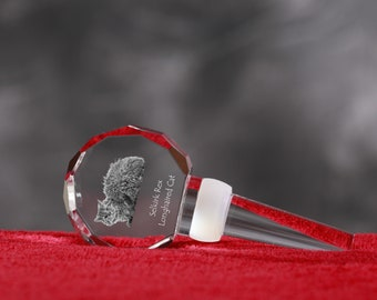Selkirk Rex Longhaired, Crystal Wine Stopper with cat, Wine and Cat Lovers, High Quality, Exceptional Gift. New Collection