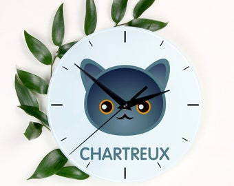 A clock with a Chartreux cat. A new collection with the cute Art-Dog cat