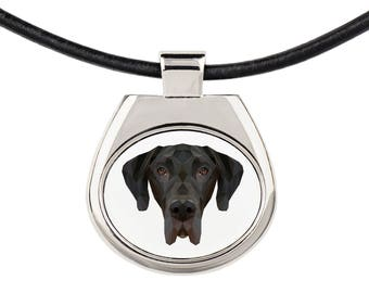 A necklace with a Great Dane dog. A new collection with the geometric dog