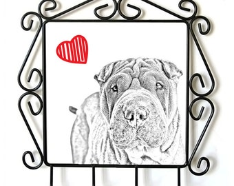 Shar-Pei- clothes hanger with an image of a dog. Collection. Dog with heart.