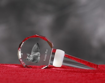 Russian Blue, Crystal Wine Stopper with cat, Wine and Cat Lovers, High Quality, Exceptional Gift. New Collection