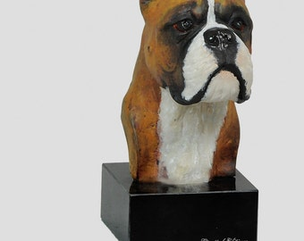 Boxer, dog marble statue, painted, limited edition, make your own statue, ArtDog. Made of cold cast bronze. Perfect gift. Limited edition
