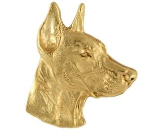 Doberman head, millesimal fineness 999, dog pin, limited edition, ArtDog