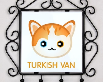 A key rack, hangers with Turkish Van cat. A new collection with the cute Art-dog cat