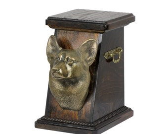 Urn for dog's ashes with a Pembroke Welsh Corgi statue, ART-DOG Cremation box, Custom urn.