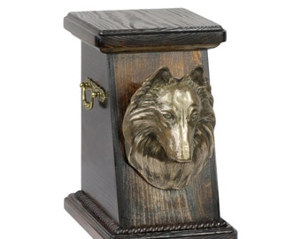 Urn for dog's ashes with a Belgian Shepherd statue, ART-DOG Cremation box, Custom urn.
