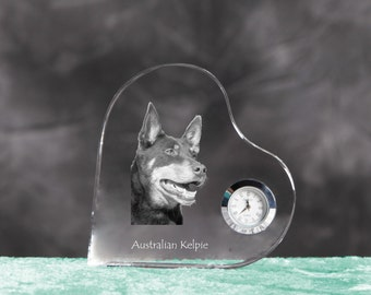 Australian Kelpie- crystal clock in the shape of a heart with the image of a pure-bred dog.