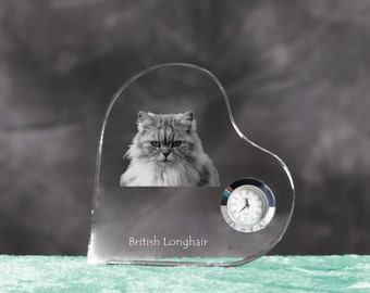 British longhair- crystal clock in the shape of a heart with the image of a pure-bred cat.
