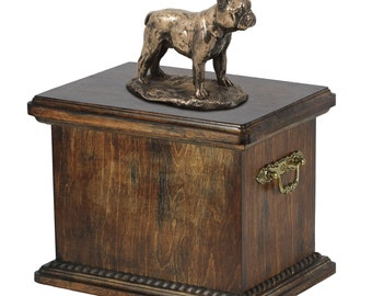 Urn for dog's ashes with a French Bulldog statue, ART-DOG Cremation box, Custom urn.