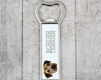 A beer bottle opener with a Border Terrier dog. A new collection with the geometric dog