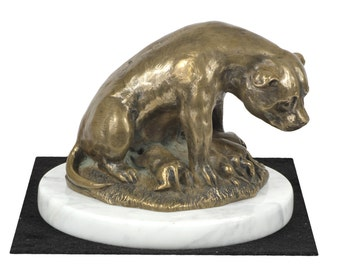 Staffordshire Bull Terrier mum, dog white marble base statue, limited edition, ArtDog