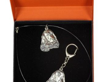 NEW, English Cocker Spaniel, dog keyring and necklace in casket, PRESTIGE set, limited edition, ArtDog . Dog keyring for dog lovers