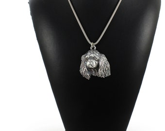 NEW, Cavalier, dog necklace, silver cord 925, limited edition, ArtDog