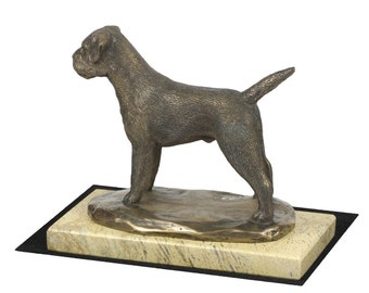 Border Terrier , dog sand marble base statue, limited edition, ArtDog. Made of cold cast bronze. Perfect gift. Limited edition