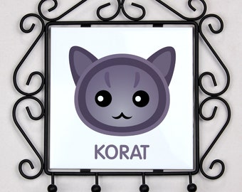 A key rack, hangers with Korat cat. A new collection with the cute Art-dog cat