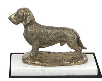 Dachshund, dog white marble base statue, limited edition, ArtDog. Made of cold cast bronze. Perfect gift. Limited edition