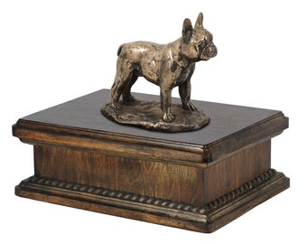 Exclusive Urn for dog's ashes with a French Bulldog statue, ART-DOG. New model Cremation box, Custom urn.