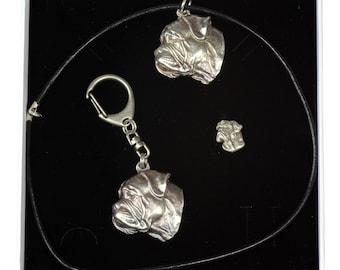 NEW, Bullmastiff, dog keyring, necklace and pin in casket, ELEGANCE set, limited edition, ArtDog . Dog keyring for dog lovers