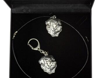 NEW, Rottweiler, dog keyring and necklace in casket, DELUXE set, limited edition, ArtDog . Dog keyring for dog lovers
