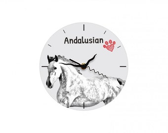 Andalusian, Free standing MDF floor clock with an image of a horse.