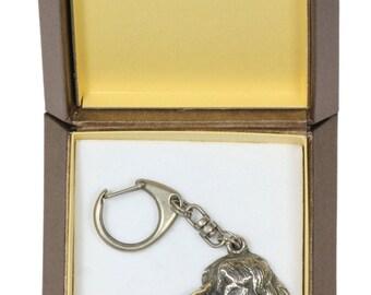 NEW, Springer Spaniel, dog keyring, key holder, in casket, limited edition, ArtDog . Dog keyring for dog lovers