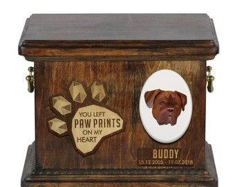 Urn for dog ashes with ceramic plate and sentence - Geometric French Mastiff, ART-DOG. Cremation box, Custom urn.