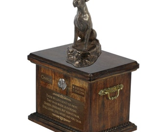 Boxer sitting - Exclusive Urn for dog ashes with a statue, relief and inscription. ART-DOG. Cremation box, Custom urn.